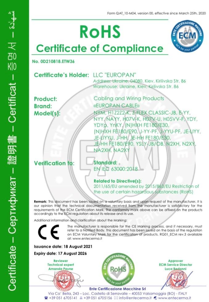 Продукция кабельного завода «ЕВРОПАН» получила сертификат RoHS!